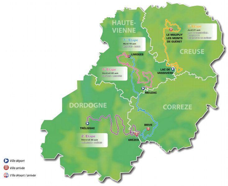 Dordogne Périgord: Tour du Limousin parcours.