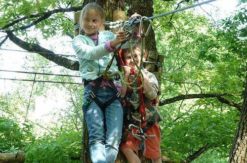 Speciale parcoursen voor jonge kinderen in L-Appel de la Foret bij Thenon.