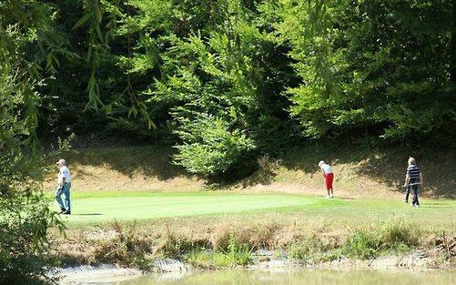 Château les Merles golf hotel restaurant: 9-holes golfbaan.