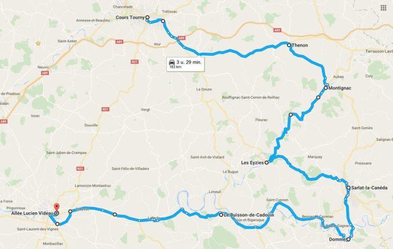 Dordogne-Perigord: Tour de France 2017 - routekaart etappe Périgueux-Bergerac