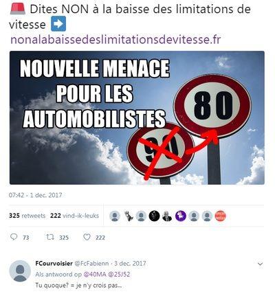Frankrijk Dordogne - nieuwe snelheidslimiet 80 km Franse N- en D-wegen per 1 juli 2018