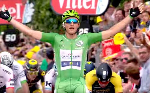 Tour de France 2019 weer niet door Dordogne-Périgord. Op de foto: Marcel Kittel wint de etappe Périgueux-Bergerac in 2017.
