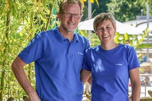 Gé en Ellen Kusters van Camping Le Paradis bij St-Léon-sur-Vézère, halverwege Montignac en Le Bugue.